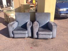 PAIR OF 1920's ART DECO BLUE VELOUR CLUB CHAIR CINEMA ODEON STYLE | eBay
