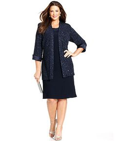 R&M Richards Plus Size Dress and Jacket, Sleeveless Glitter Shift - Plus Size Dresses - Plus Sizes - Macy's