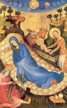 Jezus Geboorte - ca 1390-1400. Deel van veelluik Antwerpen-Baltimore door Maaslands-Rijn. België, Antwerpen, Museum Mayer van den Bergh Jozef maakt uit een van zijn kousen een windsel.