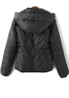 Black Polka Dot Pockets Cotton Blend Padded Coat... wish my fl life called for this. Maybe I'll just get it to keep in my arsenal lol