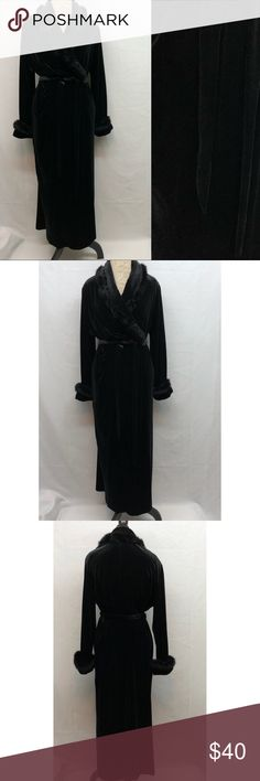 "Jasmine Rose Signature Robe Jasmine Rose Signature belted robe. Beautiful, luxurious faux fur trimmed velour. Excellent condition with no flaws. Size L/G. Armpit to armpit 23"". Shoulder to bottom hem 54"". Very stretchy. Jasmine Rose Signature Intimates & Sleepwear Robes"