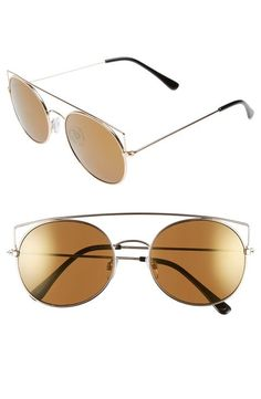 55mm Round Mirrored Sunglasses - Brown/ Gold