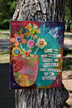 Psalms 9111 Original Mixed Media On 13.5 x by hodgepodgebycarley