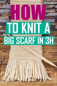 Knit Stitches For Beginners, Beginner Knit Scarf, Beginner Knitting Patterns, Knitting Basics, Knitting Stiches, Knitting Videos, Easy Knitting, Crochet For Beginners, Knitting Projects