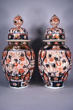 "Pair Japanese Imari porcelain Vases and Covers, 20"" Tall, c. 1860"