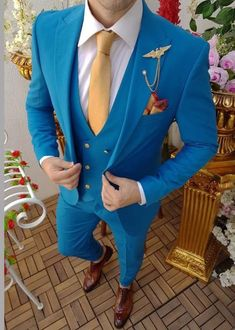 Mens Suits Elegant Luxury Wedding Groom Wear Suit Light Blue 3 Piece Suit One Button Slim Fit Coat Pant Suits Listing Include (Coat + Vest + Pant) Fabric:- Imported, Premium Dry Clean Only The suit is for wedding, Party, Proms, and Etc Express Shipping to world-wide but Remote Area May Take Blazer Outfits Men, Mens Fashion Blazer, Stylish Mens Outfits, Suit Fashion, Dress Suits For Men, Mens Suits, Men Dress, Designer Suits For Men, Designer Clothes For Men