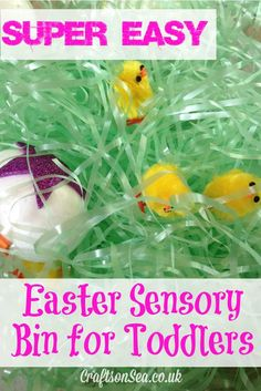 Easy Easter Sensory Bin for Toddlers. A fun sensory Easter activity for toddlers and preschoolers.