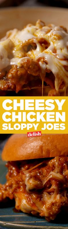 Cheesy chicken sloppy joes are the new take on your favorite childhood sandwich. Get the recipe on Delish.com.