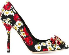 Dolce & Gabbana daisy and poppy print pumps