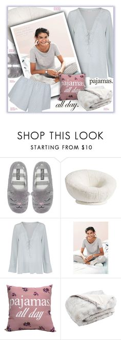 """Pajamas. All day!"" by fassionista ❤ liked on Polyvore featuring M&Co, PBteen, Law of Sleep and Safavieh"