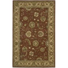 Nourison 2000 Hand-tufted Kashan Persimmon Wool Rug (2'6 x 12' Runner), Brown, Size 2'6 x 12' (Silk, Floral)