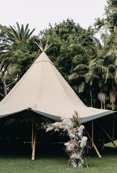 Olive & Ivy Styling and Florals  Ridhwaan Moolla Photography TP and Co Perth Wedding Upmarket UWA University of Western Australia  Tipi wedding  Tipi floral installation  Pampas grass, babies breath, fluffy flowers