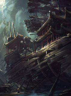 Shipwreck. [Artist: Ray Wang]