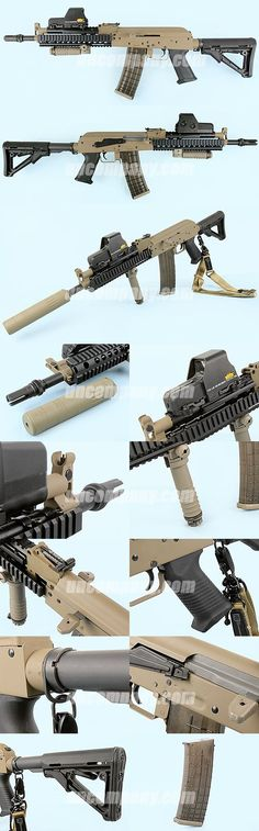 5.56 or .223 tactical AK 47 with suppressor, quad rail, eoTech, Magpul collapsible stock, and forward grip