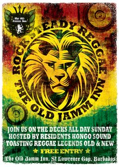 The Old Jamm Inn, Barbados. Reggae evening flyer