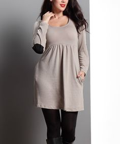 Look what I found on #zulily! Oatmeal Elbow-Patch Empire-Waist Pocket Tunic Dress - Plus by Reborn Collection #zulilyfinds