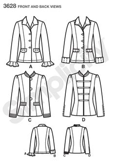 Womens and Petite Jackets Sewing Pattern 3628 Simplicity
