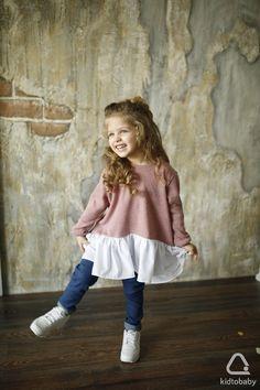 •kidtobaby.com: handmade• Туника для девочки Jolly Dress, р.98-104, из мягкой ангоры с воланами из вискозы, 1 499 ₽✨ #kidtobaby #kidtobaby_товары