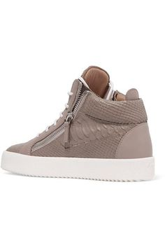 Giuseppe Zanotti - Kriss Croc-effect Leather High-top Sneakers - Mushroom - IT39.5