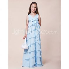 [USD $ 99.99] A-line V-neck Floor-length Chiffon Junior Bridesmaid Dress