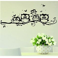 $1.83  - Owl Butterfly Wall Sticker Cute Vinyl Art Cartoon Wall Decor Home Decal Gift For Kids Bedroom Makaor >>> Click on the image for additional details. (This is an affiliate link) #WallStickersMurals