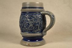 Antique Reinhold Hanke Blue German Stoneware Beer Stein Mug