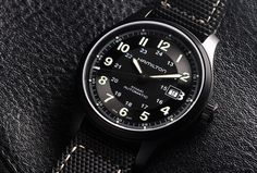 One of Hamilton's latest entries is the Khaki Field Titanium ($995), which wears nicely on the wrist and can take a beating thanks to its lightweight titanium case. That 42 millimeter case has also been treated with a black PVD coating, making it a great option for someone lusting for a murdered-out look. As per usual, Hamilton uses the reliable ETA 2824-2 calibre, making this watch the whole package: light, tough, and dependable.