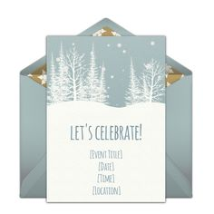 A great free holiday party invitation featuring a winter woods design. We love this for inviting friends to a elegant Christmas dinner party for for cookies & cocktails by the fire.