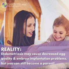 REALITY: Endometriosis may cause decreased egg quality & embryo implantation problems, but you can still become a parent! #endometriosisawareness #theendolifestyle #womenshealth #endosupport #endostrong #endoawareness #infertility #fertility #infertilitysucks #ivf Embryo Implantation, Causes Of Infertility, Endometriosis Awareness, Medical Center, How To Become, Eggs, Parenting, Egg, Childcare