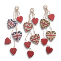 Decorative Multi Heart Hanger with Union Jack Design & Shabby Finish - Three Colours Available £4.99