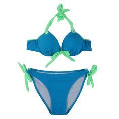 4f2248a3b5d88 Amazon.com  Your Gallery Women bikini Women s 2Pc Push Up Padded Bikini Set  Trikini Swimwear Swimsuit L(US8-10) blue bra green string  Clothing