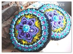 Embroidered earrings 'Turquoise Mandala by gaestattedtreasures