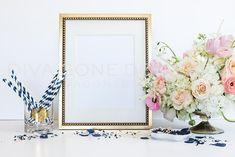 Styled Art Frame Mock Up Blush Navy