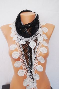 Black White lace scarf, spring, summer, lace scarf, scarf, shawl, scarf yarn quality, the female attachment