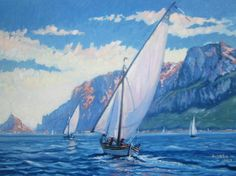 Racing Tavolara Painting on canvas