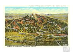 Panorama of Pike's Peak Region, Colorado Giclee Print at Art.com