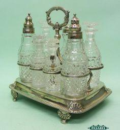 Sterling Silver 7 Bottle Cruet Set by Wright Fairbairn Sheffield England 1811.