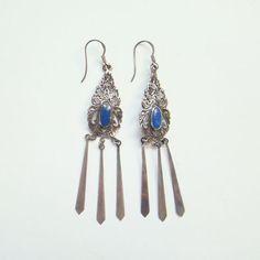 Sterling Silver Lapis Dangle Pierced Earrings Vintage Bohemian Hippie Style by redroselady on Etsy