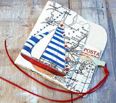 NAUTICAL POSTCARD CASE Unique Holiday Knitting Crochet Needle Organiser Roll Bobbin Lace Tools Holder Cover Colourful Natural Handmade Gift