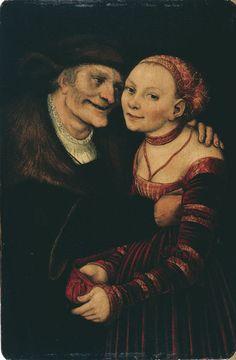 LUCAS CRANACH (1472 - 1553)   The Ill-Matched Couple - 1517. Museu Nacional d'Art de Catalunya.