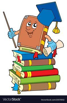 Book teacher on pile of books Royalty Free Vector Image Before Kindergarten, Kindergarten Classroom, Classroom Decor, Cartoon Clip, Cartoon Pics, Family Tree Worksheet, Hand Washing Poster, Pile Of Books, School Frame