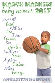 Time for the boys' opening round of March Madness Baby Names 2017, Boy Names, March Madness, Character Names, Future Children, Baby Boy, Mountain, Wisdom, Girls