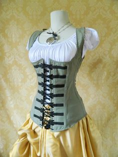Matte grey military steampunk steel boned waistcoat corset, moll lace front corset-to fit 30-31 inch natural waist. $119.00, via Etsy.