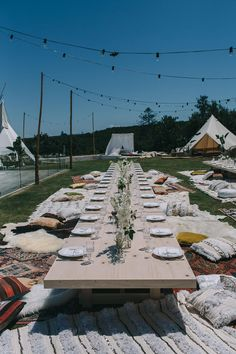 {Real Wedding} Lizzy + Johnny's relaxed luxe bohemian lovefest // Low tables, teepees + festoons for the lovely Spell Designs in Byron Bay || Created by The Events Lounge www.theeventslounge.com.au
