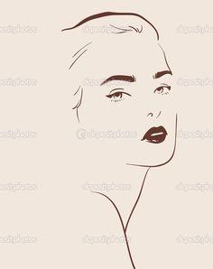 güzel bir kadın yüzü elle çizilmiş - Stok İllüstrasyon: 29944341