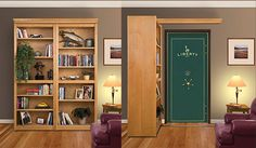 barn door track for book case that hides a room or safe.