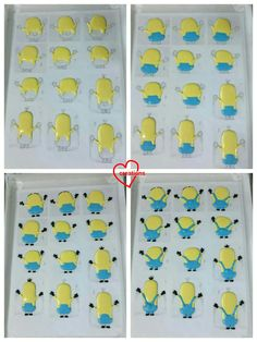 Loving Creations for You: Minions and Monster Mike Macarons with Dark Chocolate Ganache Royal Icing Templates, Royal Icing Transfers, Macaroon Cake, Macaroon Recipes, Minion Cupcakes, Cupcake Cakes, Fondant Cakes, Minions, Meringue Cookies