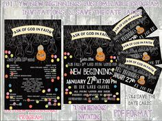 2017 LDS YW New Beginnings Program, Invites, and Save the Date Cards