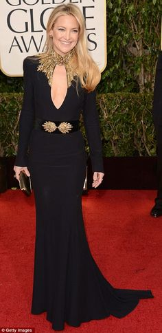 2013 Golden Globes - Kate Hudson looked stunning in her black and gold Alexander McQueen gown