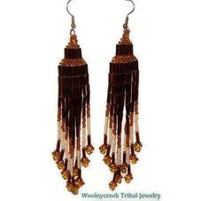Shoulder Length Tribal  Beaded Earrings With by WooleycreekTribal
